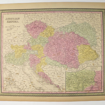 Antique Map Austrian Empire Map 1852 Mitchell Map of Austria, History Buff Gift, Antique Austria Map, Vienna Austria, Handcolored Map
