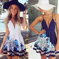 Hot Sale V-neck Patchwork Sleeveless Spaghetti Strap Print One Piece Dress [4966036804]