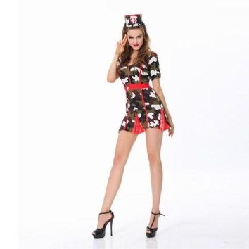 Bamboo Hat Military Uniform Sexy Nurse Game Uniform Halloween Stage Costume