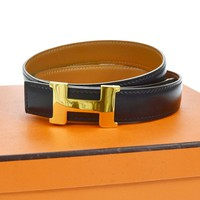 Auth HERMES Vintage H Logos Buckle Constance Reversible Belt Leather #70 AK08497