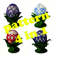 Diy-kit-PDF Tatting pattern-instant download-Easter egg basket pattern-shuttle tatting -tutorial PDF-how to do-Easter decor