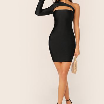 Neckline Cut Out One Shoulder Sleeve Bodycon Dress