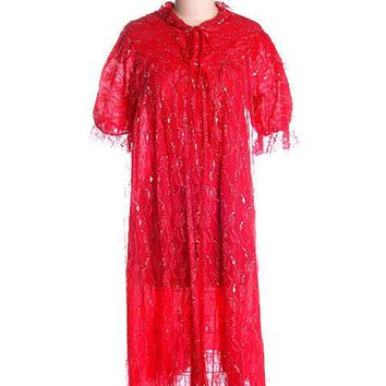 Vintage Cherry Red & Silver Lace Nylon Chiffon Robe Bust 40 1950s