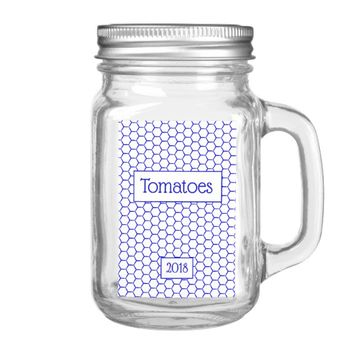 Blue pattern. Hexagonal grid. Add text. Food Label