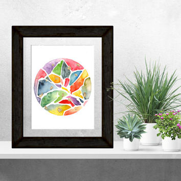 Original Abstract Watercolor, Circle Art, 9x12, Circle Watercolor, Rainbow, Bright, Gold Leaf, Wall Art, One of a Kind, Contemporary,