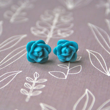Petite Turquoise Rose Cabochon Earrings