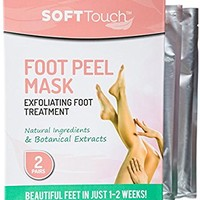 Soft Touch Foot Peel Mask, Exfoliating Callus Remover (2 Pairs Per Box)
