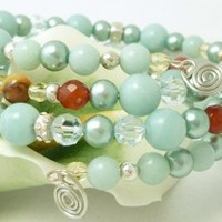 Amazonite Carnelian Citrine Sterling Beaded Memory Wire Wrap Bracelet