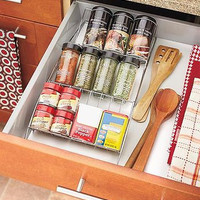 Space-Saving Spice Rack Kitchen Spice Bottles Metal Nonslip Grips New Free Ship