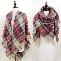 Plaid Blanket Scarf in Beige EASW8400BE
