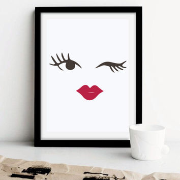 Makeup Blinked Eye Print, Wall Decor, Minimal Wall Art, Beauty Print, Fashion Print, Glamour Decor.