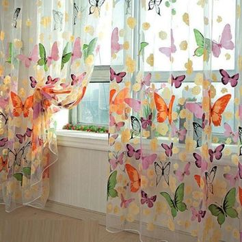 2 Sheet Butterfly Printed Sheer Curtain Panel Window Balcony Tulle Room Divider