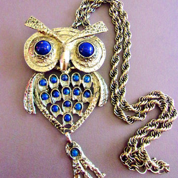 Glass Lapis Owl Pendant Necklace, Articulated Bird, Huge, Silver Tone, Vintage