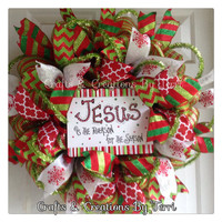 Christmas Wreath - Jesus Is The Reason For The Season Christmas Wreath - Red and Green - Deco Mesh Wreath - Door Decor - Ready To Ship
