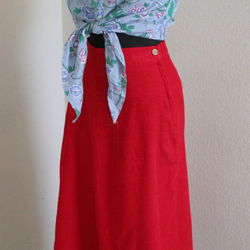 80s Scarlet Red corduroy midi skirt