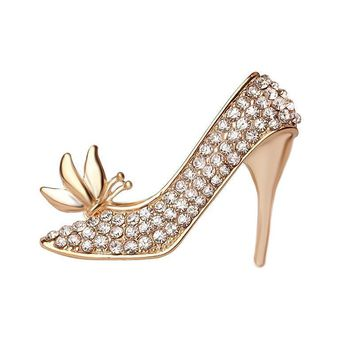 beautiful fashion crystal shoes rhinestone high heel button brooch pins women jewelry  number 1