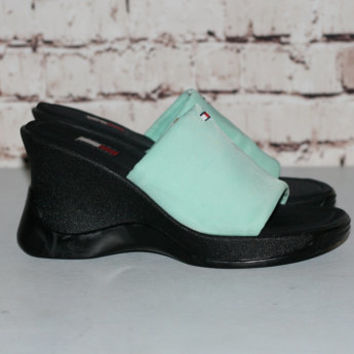 90s Tommy Hilfiger Chunky Sandals US 7.5 Platform Shoes Mint Green Black Grunge Hipster Pastel Goth Nu Cyber Club Kid Slip On 7 Boots