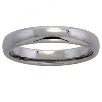 "Tungsten 4 mm (5/32"") High Polish Comfort Fit Dome Wedding Band / Thumb Ring."
