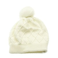 Beatnix Fashions White Double Layered Faux Fur Pearl Pom Pom Beanie Hat