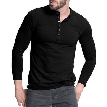DCCKON3 mens henley shirtpopular design tee tops long sleeve stylish slim fit plain t shirt button placket casual men t shirts 1