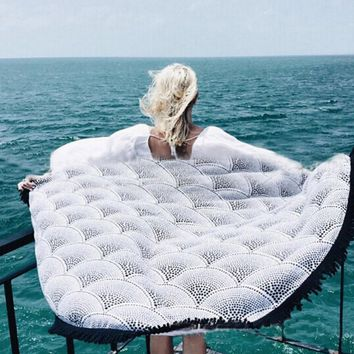 Summer new round beach towel shawl fringed cloak printing