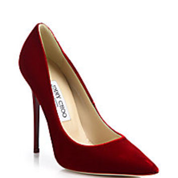Jimmy Choo - Anouk Velvet Point-Toe Pumps - Saks Fifth Avenue Mobile