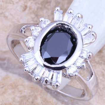 Romantic Black Onyx White CZ Silver Stamped Women's Jewelry Ring