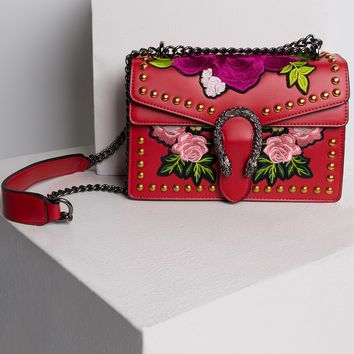 AKIRA Embroidered Floral Studded Snap Fastened Box Chain Purse in Black, Red