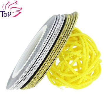 DCK9M2 Top Nail 20 Rolls Of Laser Gold Silver Glitter Striping Tape Line Nail Art Tips Decals Beauty Transfer Foil Stickers For Nails