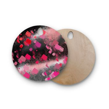 """Rosa Picnic """"Abs-8"""" Black Pink Abstract Contemporary Painting Watercolor Round Wooden Cutting Board"""