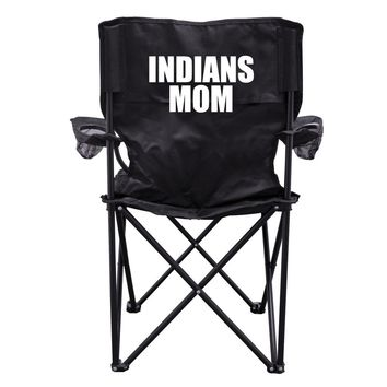 Indians Mom Black Folding Camping Chair with Carry Bag