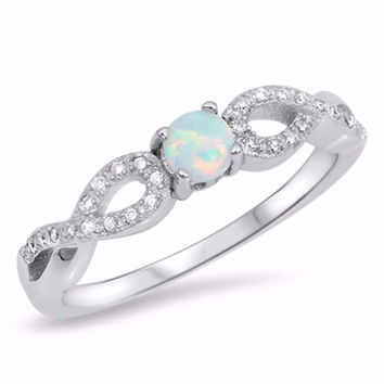 Sterling Silver CZ Lab White Opal Simulated Diamond Infinity Round Center Ring