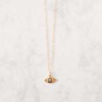 Nazar Necklace - tiny evil eye charm on gold filled chain