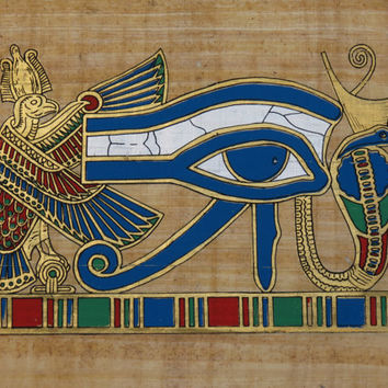 ABW-El-HOOL Papyrus Eye of Horus From Egypt Certificate Egyptian Art Ra