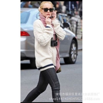 Women Cardigan Black White Long Sleeve Round Necked _ 12420