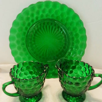 ON SALE Vintage Emerald Green Hobnail Dish Plate Creamer Sugar Bowl Glassware
