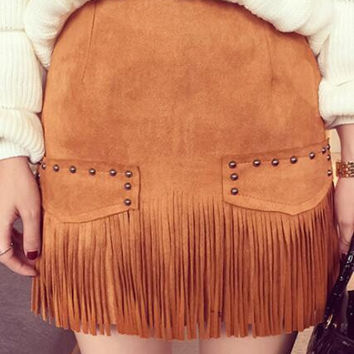 Suede Tassel Rivets Bodycon Size Zipper Mini Skirt