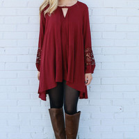 Red Long Sleeve Cut Out Dress