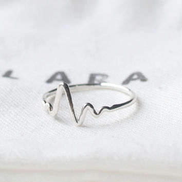 HeartBeat Ring, 92.5 Sterling silver, EKG ring, Heart beat ring