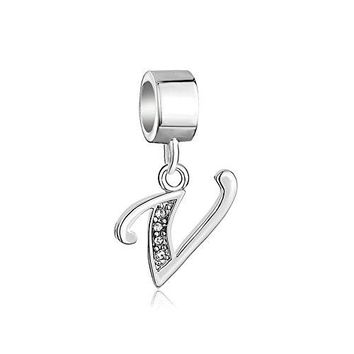DemiJewelry Letter Charms Initial AZ Dangle Alphabet Sterling Silver Bead