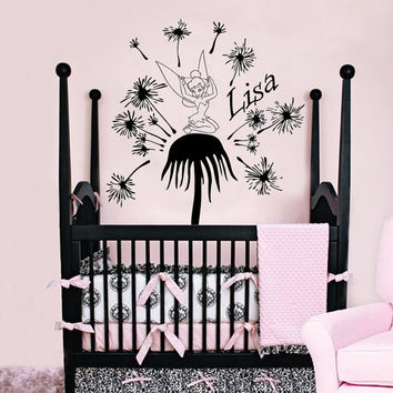 Personalized Name Decal Nursery Room Wall Decal Fairy Dandelion Vinyl Sticker Wall Decor Home Interior Design Art Mural U-23