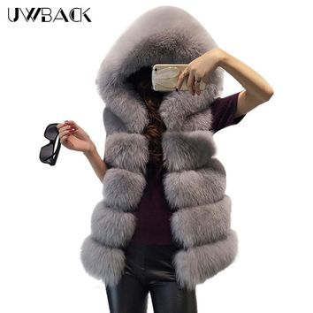 Uwback Faux Fur Vest Women Winter Luxury Fur Jacket Sleeveless Shaggy Vests Fluffy Thick Femme Fox Fur Hooded Overcoat, EB381