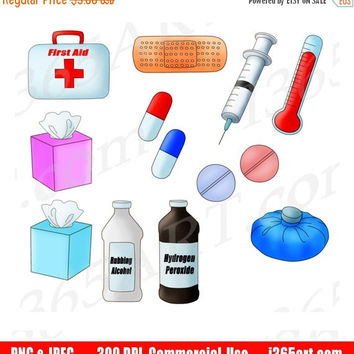 50% OFF SALE Medical Clipart, Medical Supplies Clip Art, Healthcare, Medical Kit, First Aid, Hospital, Planner, Scrapbooking, Commercial