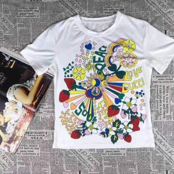 """""""Gucci"""" Woman's Leisure  Fashion  Letter  Personality Printing   Short Sleeve Long Skirt Two-Piece Set Casual Wear"""