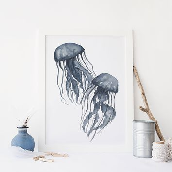 Navy Blue Jellyfish Painting Art Print or Canvas