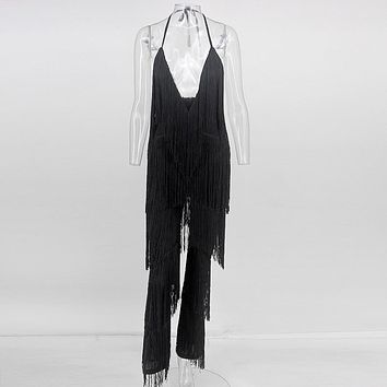 1b5b24536052 COSYGAL Fringes Rompers Womens Jumpsuit Tassels Sexy Solid Play