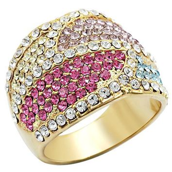 Ion Plated Brass & Multi-Colored CZ Ring