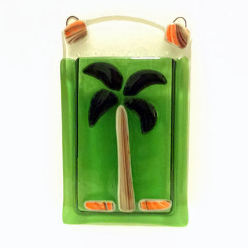 Palm Tree Fused Glass Pocket Vase - Wall Vase - Green Vase- Flower Vase - Pen / Pencil Holder - Reed Diffuser - Beach Decor - Tropical