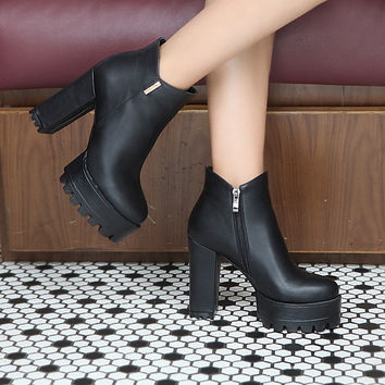 Zipper Ankle Boots Platform High Heels Thick Heeled Shoes Woman 3295 3295