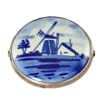 Vintage Blue Delft Pin - 800 Silver with Dutch Windmill - Large